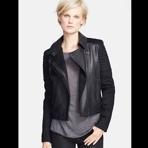 Vince Quilted Contrast Leather/Wool Moto Jacket